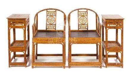 * A Set of Four Chinese Spotted Bamboo Furnitures