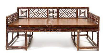 * A Large Chinese Spotted Bamboo Luohan Bed,
