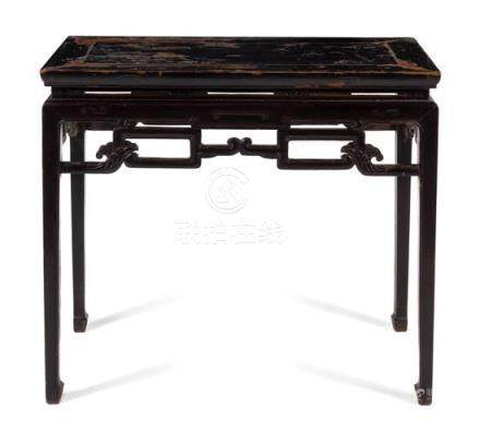 * A Chinese Black Lacquared Hardwood Side Table,