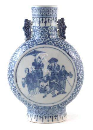 Chinese moon flask, with twin handles , painted with figures in under glaze blue, late 19th