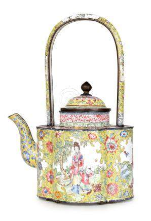 A 19th century Chinese enamel quatrefoil teapot. With famille en rose floral design and scenes of