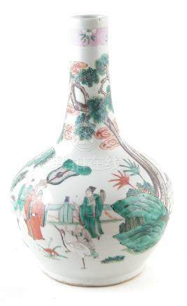 A Chinese Famille verte vase, painted with figures in garden scenes, 19th century, 34cm high For a