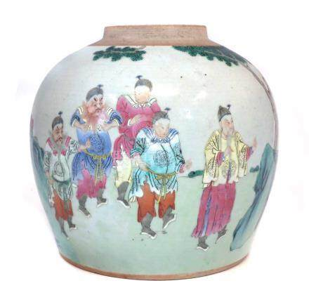 Chinese Famille rose ginger jar base, 18th/19th century, 23cm high. For a condition report on this