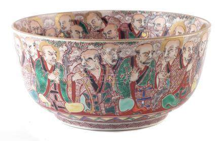 Samson Japanese bowl, finely painted with Immortals in a satsuma style, the inside painted with a