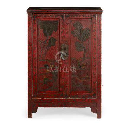 RED LACQUER TWO-DOOR CABINETLATE 19TH CENTURY the two hinged doors and the sides each decorated with