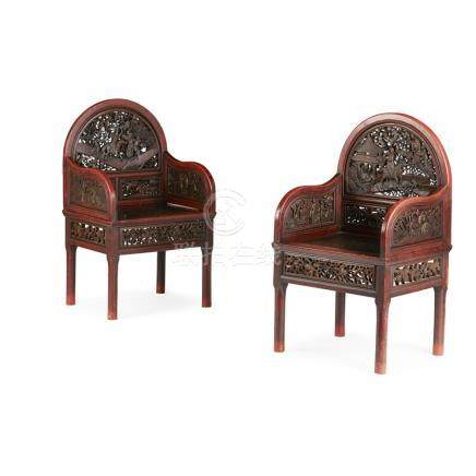 PAIR OF CARVED AND LACQUERED WOODEN ARMCHAIRSQING DYNASTY, 19TH CENTURY the curving top rail above a