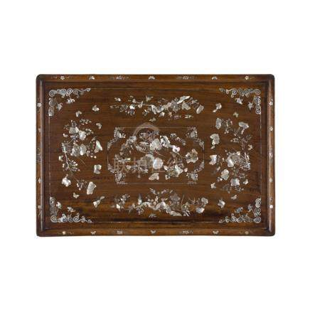 MOTHER OF PEARL INLAID RECTANGULAR WOODEN TRAYLATE 19TH/EARLY 20TH CENTURY finely inlaid with