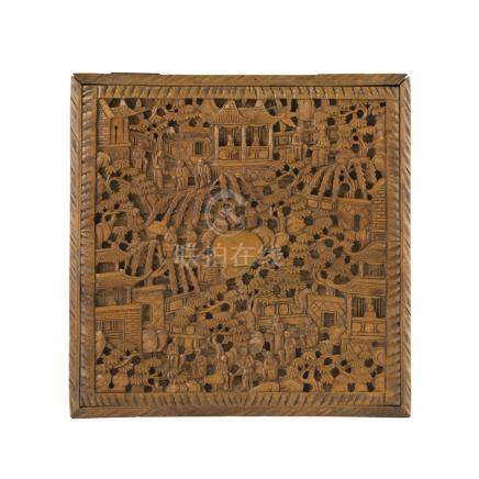 CARVED SANDALWOOD SQUARE BOX AND HINGED COVERLATE QING DYNASTY the cover and all four sides of the