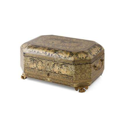 CANTON EXPORT LACQUER SEWING BOX AND CONTENTSQING DYNASTY, 19TH CENTURY the lidded box with