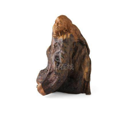 CARVED ROOTWOOD FIGURE OF BODHIDHARMAMODERN the gnarled rootwood section carved into a figure of the