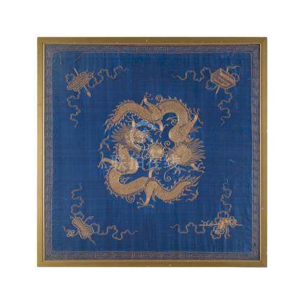 THREE EMBROIDERED SILK PANELSQING DYNASTY, 19TH CENTURY the first decorated with a pair of four-