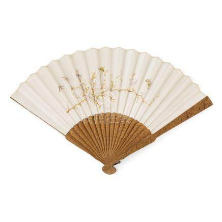 EMBROIDERED SILK FAN ON SANDALWOOD STICKSLATE 19TH/EARLY 20TH CENTURY embroidered on both sides with