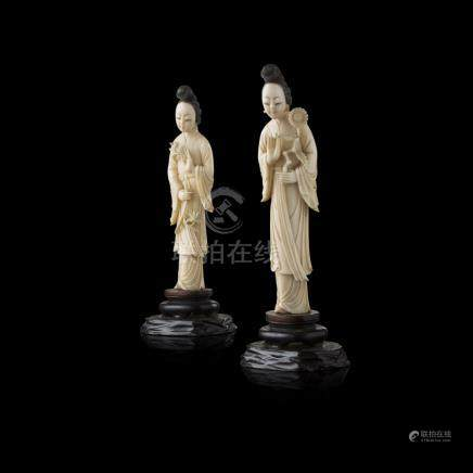 TWO IVORY FIGURES OF A FEMALE IMMORTALLATE QING DYNASTY/REPUBLIC PERIOD each holding flowering