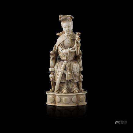 CARVED IVORY FIGURE OF EMPRESS LIULATE QING DYNASTY/REPUBLIC PERIOD the Empress, possibly Liu E of