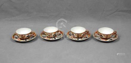 Juego de 4 tazas con sus platos en porcelana japon