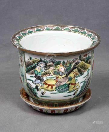 Pequeño macetero con plato en porcelana china, dec