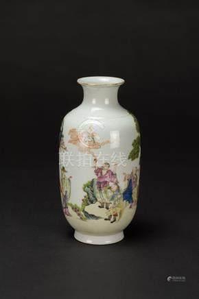 Republic-A Famille-Glazed 'Luohan' Landscrpe Vase