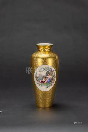 A Gilt Glazed Enamel' Figure' Porcelain Vase