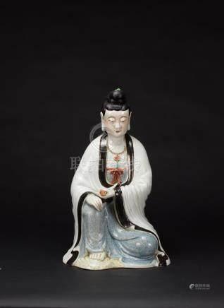 Republic-A Famille-Glazed Guanyin 'Cao Ming Ji Zao' Mark