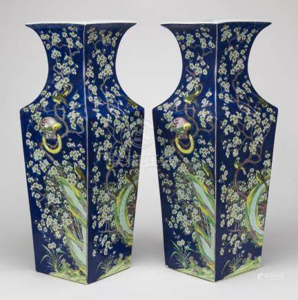 Early 20th Century-A Pair Of Large Blue Ground Double Beast