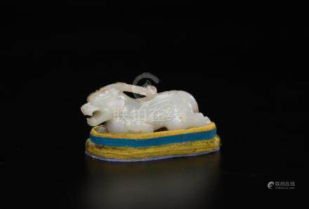 Qing-A White Jade Carved Beast Toggle