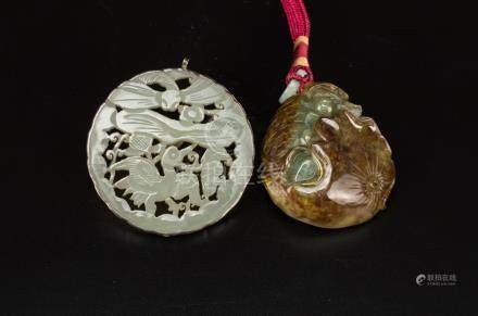 Late Qing/Republic-A White Jade Carved Circle Pendant and Ja