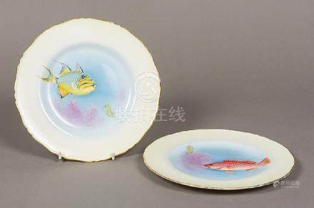 A pair of Royal Worcester porcelain plates painted by