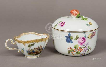An 18th century Meissen porcelain bowl and cover Finely