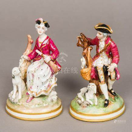 A pair of Continental porcelain figures Modelled as