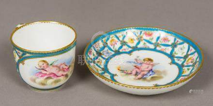 A late 18th century Sevres porcelain cup and saucer