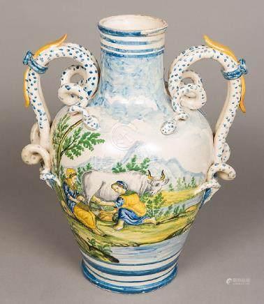 An Italian majolica twin handled vase The body
