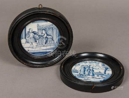 A pair of 18th century Dutch blue and white Delft