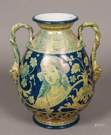 A 19th century Italian majolica pottery vase The high