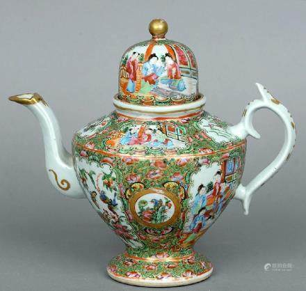 A 19th century Cantonese famille rose teapot The domed