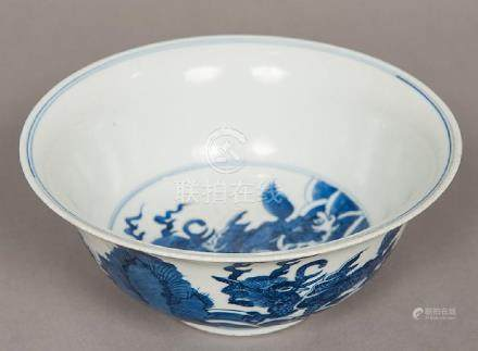 A Chinese blue and white porcelain bowl Decorated with