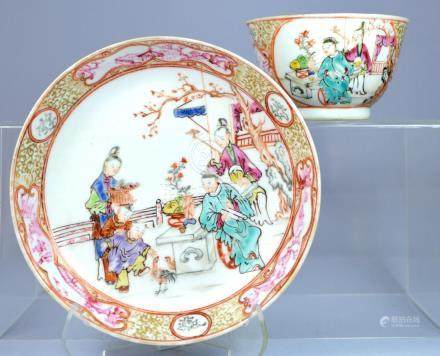 CHINESE MANDARIN FIGURAL CUP AND SAUCER SET CA 18TH C