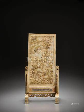 AN IVORY DOUBLE-SIDED 'IMMORTALS AND DRAGON BOAT' TABLE SCRE