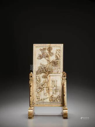 AN IVORY DOUBLE-SIDED 'NARRATIVE' TABLE SCREEN, KANGXI
