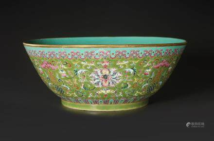 A LARGE FAMILLE ROSE 'FIVE BLESSINGS' PORCELAIN BOWL, DAOGUA
