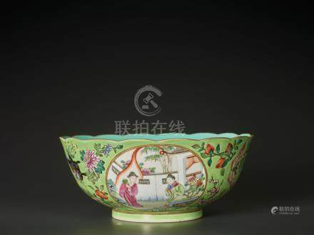 A RARE FAMILLE ROSE LIME-GROUND 'MUDAN TING' BOWL AND COVER,