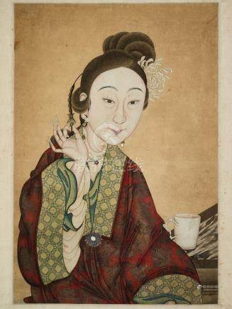 A PAINTING DEPICTING A MEIREN WITH A DEHUA CUP, QING DYNASTY