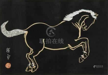 Noda Sonan Japan, Mitte 20.Jh. Farbholzschnitt. Pferd. Yoko-Ôban-Format. Gerahmt. 39x51 cm. -