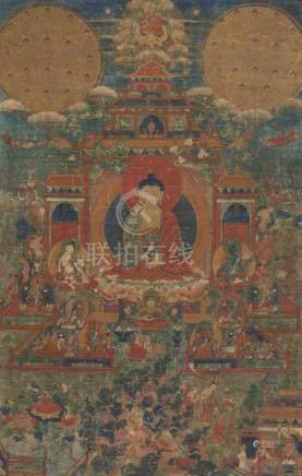 Thangka des Paradieses Sukhavati Tibet, 19.Jh. Farben und Gold auf Leinwand. Amitabha, der Buddha