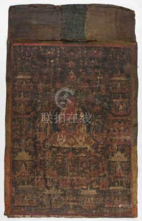 Thangka des Amitabha Tibet, 18./19.Jh. Farben und Gold auf Leinwand. Amitabha auf Lotossitz mit