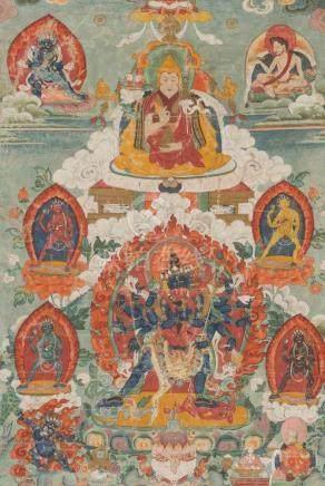 Thangka des Cakrasamvara und der Vajravahari in Yab-Yum Tibet, 18./19.Jh. Farbe auf Leinwand.