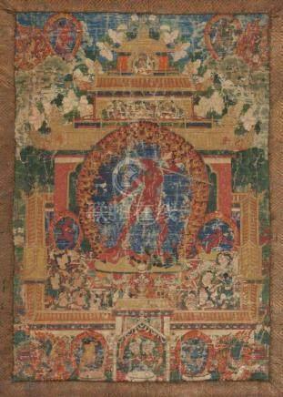 Thangka der Vajrayogini Tibet, 18.Jh. Farben auf Leinwand. Vajrayogini in alidhasana auf zwei