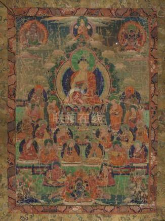 Thangka des Buddha Shakyamuni Tibet, 19.Jh. Farben und Gold auf Leinwand. Der historische Buddha