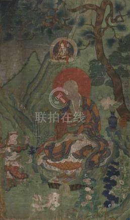 Thangka des Arhats Kanaka-Baradvaja Sinotibetisch. Farben auf Leinwand. Der Arhat sitzt in einer