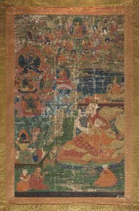 2 Thangkas Tibet. Farben auf Leinwand. a) Thangka des Amitabha in seinem Paradies Sukhavati.
