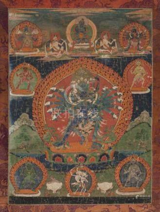 Thangka des Hevajra in Yab-Yum Tibet, 18./19.Jh. Farbe auf Leinwand. Hevajra in Vereinigung mit